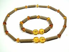 Hazelwood and natural baltic amber baby teething necklace and bracelet set