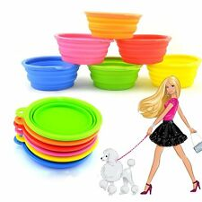 Portable Collapsible Pet Cat Dog Food Silicone Water Feeding Bowl Dish Feeder AU