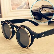 Steampunk Goth Goggles Glasses Retro Flip Up Round Sunglasses Vintage Black SZ