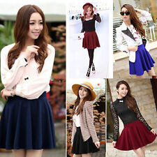 Fashion Women's Stretch Waist Plain Skater Flared Pleated Mini Skirt New Hot SZ