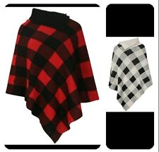 Women Long Collar Knitted Check Girls Shawl / Poncho (One Size)