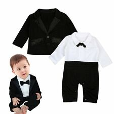 Infant Baby Kid Boys Gentleman Clothes Long Sleeve Romper + Suit Jacket Outsets