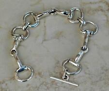 Gorgeous Large Equine Sterling Silver Horse Snaffle Bit Bracelet English Western