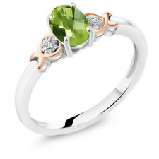 925 Sterling Silver and 10K Rose Gold Ring Peridot with Diamond Accent 0.85 cttw