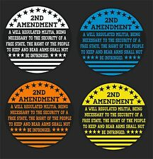 2nd AMENDMENT USA ROUND  CAR WINDOW DECAL...PICK YOUR SIZE AND COLOR