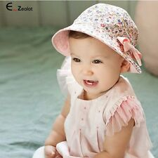 Cotton Bowknot Baby Hat Two Sided Cap Baby Girl Sun Hat Child Floral Bonnet