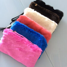 Mother Gift Faux Fur Evening bag Fashion Clutch Wristlet Cosmetic Bag Coin Purse