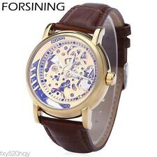 Men Automatic Mechanical Watch Hollow Dial Luminous Leather Strap Wristwatch