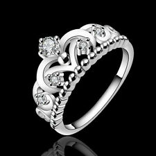 Unique Women 925 Silver Plated Pretty Crown Lady Crystal Ring Princess Ring