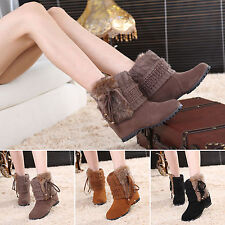 Women's Winter Warm Fur Lined Shoes Suede Booties Knitted Wedge Snow Ankle Boots