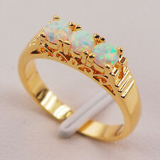 White Fire Opal 925 Sterling Silver Gold Filled Jewelry Ring Size 6 7 8 9 10 11