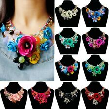 Vogue Chain Lady Crystal Flower Statement Bib Big Chunky Necklace Collar Jewelry