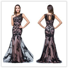 Sexy Long Women Mermaid Lace Appliqued Floor Length Evening Prom Formal Dress