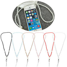 Neck Strap Faux Pearl Ring Lanyard For iPhone Samsung Cell Phone ID Card PSP MP3