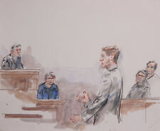 Marshall Goodman, Courtroom 83, Watercolor Painting