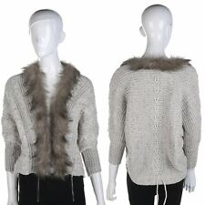 Women Coat Sweater Knit Fur Collar Thicken Shawl Batwing Sleeve Cardigan Hot LC