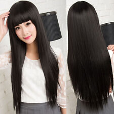 Sexy Women's  Long Straight Hair Full Wig Silky Synthetic Black Cosplay Party