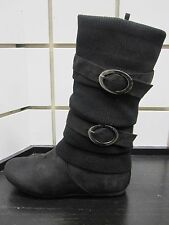 NEW WOMEN'S TOP MODA 'BANK-21' SLOUCH SWEATER BUCKLE MID CALF WINTER BOOT-BLACK