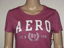 Aeropostale T-Shirt Women's Slim Fit Aero Wreath Graphic Tee M or L Magenta NWT