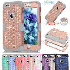 Crystal Rhinestone Jewelled Hybrid Heavy Duty Shockproof Case Cover for iPhone