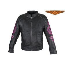 Womens Studded Motorcycle Racing Genuine Naked Cowhide Leather Jacket Size M-5XL
