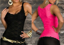 Sexy Perspective Sleeveless Women Solid Lace Slim Fit Tops Tank Vest Camisole UK