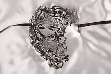 King or Queen Luxury Filigree Metal Lace Masquerade Mask - Phantom