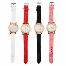 Women's Butterfly Crystal Round Quartz PU Leather Band Wrist Watch Gift HOT LO
