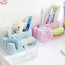 Home Bathroom Toothbrush Holder Stand Plastic Cup Soap Storage Rack Organizer