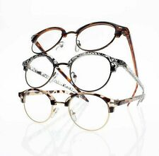 3 Colors Unisex Retro Round Frame Clear Lens Reading Glasses +1.0 +2.0 +3.0 +4.0