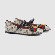 NIB NEW Gucci girls GG blue beige ebony red web mary janes shoes 33 34 35 419000