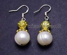 SALE 10-11mm White Round Natural pearl & 14K GP beads dangle earring Hook-ea441