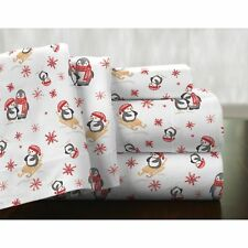 Twin XL Full Queen Cal King Bed Red Winter Penguins 4pc Cotton Flannel Sheet Set