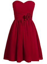 Flower Strapless Chiffon Bridesmaid Party Dress A Line Mini Cocktail Gowns WD005