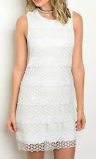 White Sequin Tonal Lattice Crochet Shift Dress Ivory Contrast Chic Dress (Lined)