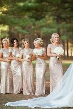 Sequin Mermaid Bridesmaid Evening Dresses Long Formal Party Prom Ball Gown WD168