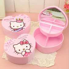 Hello Kitty Pink Heart Shape Jewellery Storage Box Case with Mirror