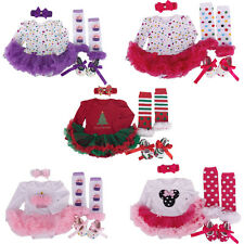 Newborn Infant Baby Girls Christmas Santa Romper Fancy Tutu Dress Outfits 0-9M