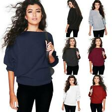 Sexy Womens Off Shoulder Chunky Knit Jumper Ladies Oversized Baggy Sweater Tops