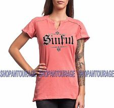 Sinful Angel Wings S3803 Women`s New Coral Pink Western Tee By Affliction