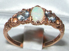 Womens Solid 9K Rose Gold Natural Opal & Aquamarine Victorian Style Ring