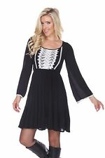 White Mark Embroidered Dress Knee-Lenght with Long Sleeves Empire waisted