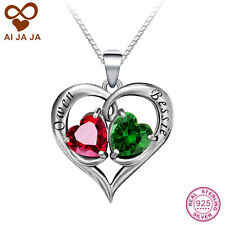 Heart Necklace, Silver Personalized Engraving & Birthstones Necklace & Pendant