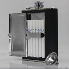 5oz or 6oz stainless steel hip flask with cigarette box leather surface 1 Funner