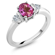 1.08 Ct Oval Pink Mystic Topaz White Topaz 925 Sterling Silver Ring