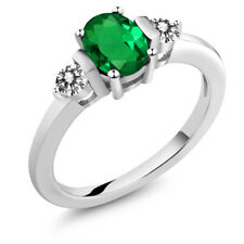 0.80 Ct Oval Green Simulated Emerald White Diamond 925 Sterling Silver Ring