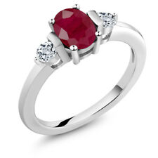 1.30 Ct Oval Red Ruby White Topaz 925 Sterling Silver Ring