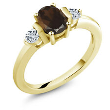 1.03 Ct Oval Brown Smoky Quartz White Topaz 18K Yellow Gold Plated Silver Ring