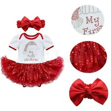 Infant Baby Girls My First Christmas Sequins Romper Tutu Fancy Dress Outfit US