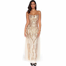 Flapper Girl Long Prom Dresses Strapless Beaded Sequin Gatsby Maxi Evening Dress